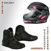 Motorcycle Riding Leather Waterproof Boots Sun Visor Sports Safety Helmets Armor