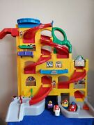 Fisher-price Little People Wheelies Stand And039n Play Rampway With 4 Cars