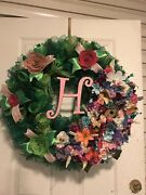 New Handmade Green And Pink Monogrammed Deco Mesh Wreath