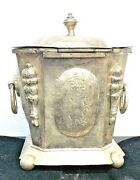 Antique Silver Box With Detailed Carving And Signature