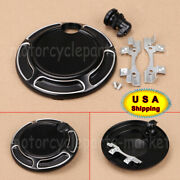 Black Fuel Door Push Button Latch W/gas Tanks Cover Kit For Harley Touring 92-07