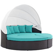 Convene Canopy Outdoor Patio Daybed - Espresso Turquoise