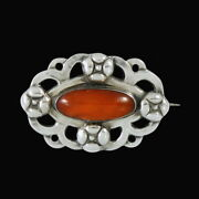 Carl M. Cohr. Art Nouveau Silver Brooch With Amber.