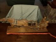 Handcarved Wood Running Horse With Sleigh Old Folk Art