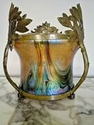 Antique Glass And Bronze Vase By And039s Or Loetz Early 1900s Circa
