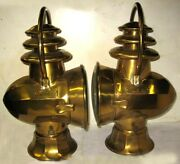 Pair Ornate Atwood Stay-lit Early Brass Bale Side Lamps Model T Ford