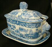 Staffordshire Blue John Rogers Chinese Fishing Sauce Tureen, Cover And Stand 1814+