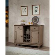 D6498-4 Brown Wood Wine Rack Sideboard Buffet Server Storage Cabinet With Dra...