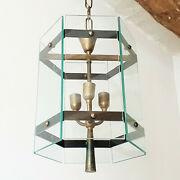 Chandelier Suspension Lantern Vintage 1950 Glass And Brass 50s 50and039s Rockabilly