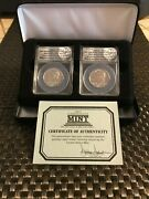 2014 Pandd Kennedy 50c High Relief F.d.o.i 2 Coin Set Anacs Sp69 / Plus Ogp Set