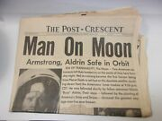 Man On Moon Apollo 11 Post Crescent Newspaper July 21 1969 W/ Movie Theaters Ads