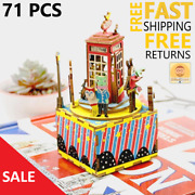 Building Wooden Blocks Assembly Toys Christmas Gift Kids Phone Booth Music Box