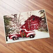 Retro Red Truck And Winter Barn Christmas Bathroom Rug With Nonslip Backing