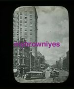 Antique Glass Slide Early 1900s Unknown Street With Trolley
