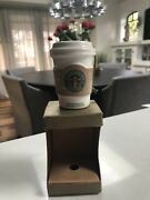 Starbucks 2008 Christmas White W/ Beige Sleeve To Go Cup Ornament