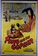 Pluto Gopher Movie Poster Verygood+ One Sheet 1950 Walt Disney Mickey Mouse