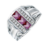 Rhodolite June Birthstone And Simulated Diamond Menand039s Ring In Sterling Silver