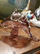 Manatee Brown Glass And Sequins Christmas Ornament New