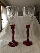 New, Rare, Fenton Art Glass Pair Of Ruby And Crystal Hurricane Candle Holdersnwob