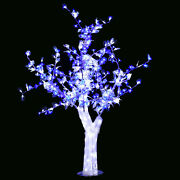 5 Ft Led Christmas New Year Party Crystal Cherry Tree White Leaf Blue Flowers