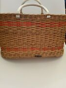 Vintage Brooks Brothers Wicker Basket Picnic Tote Reg No 787178 Made In England