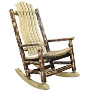 Log Porch Rockers Amish Made Rustic Rocking Chair Lodge Cabin Exterior Finish