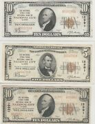 Il 1929 Set Of 3 National City Illinois Banknotes Ch 12991