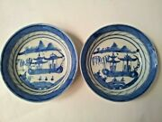 Antique Pair Of Chinese Blue And White Soy Dishes 19th Century