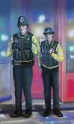 British Police Officers In The Rain Into The Light Glicee Print