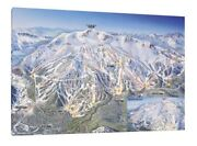 Mammoth Mountain Ski Map - 30x20 Inch Canvas - Snowboarding Framed Picture Art