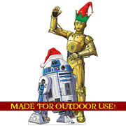 Christmas R2-d2 And C-3po Plastic Outdoor Yard Sign Star Wars Standup Standee