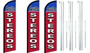 Auto Stereos Windless Flag With Hybrid Pole Set 3 Pack