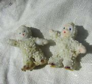 Antique Snow Baby Bisque Doll Miniature Lot Two Snowbabies Open Arms Figurine