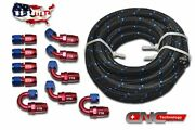 An8 8an 20ft Steel Nylon Braided Oil Fuel Line Hose End +10 Fittings Adaptor Kit