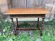 Early Oak Carved Desk Or Table Renaissance Revival Gothic Hall Side With Drawer