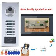 7inch 9 Apartment Video Intercom Rfid Record Wired Wifi Doorbell For Ios Android