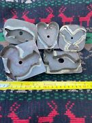 5 Antique Primitive Soldered Tin Cookie Cutter Heartrabbitchickenroosterfish