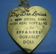 Effanbee Dy-dee Louise Mold 2 Hang Tag 20 Side Double Tag Very Rare Vintage