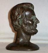 Antique Signed Abraham Lincoln Bronze Copper Bust Bookend 4+ Lbs Heavy Old
