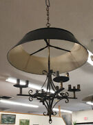 Vintage Candle Chandelier With Tin Adjustable Shade C1950 With Gilt Wrought Iron