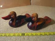 Vintage Handmade Chinese, Asian Duck Figurines. Hand Carved Wooden Duck Decoys.