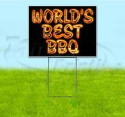 World's Best Bbq 18x24 Yard Sign With Metal Stake Corrugated Bandit Bbq Usa