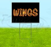 Wings 18x24 Yard Sign With Metal Stake Corrugated Bandit Bbq Usa