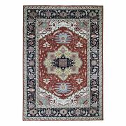10and039x13and0398 Red Pure Wool Hand Knotted Tribal Oriental Rug G47230