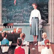 Norman Rockwell Famous Artwork Cleaning Cloth Andquothappy Birthday Miss Jonesandqu