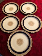 5 Royal Worcester Dinner Plate 9.5 Ivory And Gold Made For Ovington Bros Ca 1890