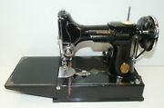 1936 Vintage Singer 221 Featherweight Sewing Machine W/ Case And Key Tested Inv