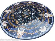 45 Black Marble Coffee Table Top Inlay Handmade Work For Home And Dining