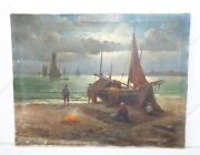 Amazing Vintage Oil Painting Of Shipwreck Boats At Shore Very Gloomy Original