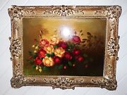 Unknown Oil Painting Floral Bouquet Flowers Very Old Framed. Bengelo Signed